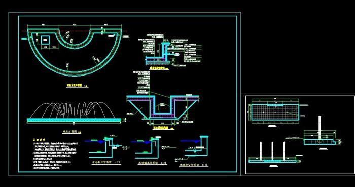 喷泉车棚建筑结构图纸