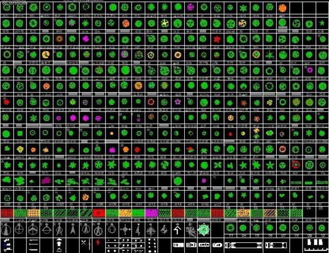 数百种cad平面树木图例