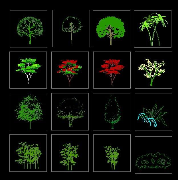齐全的园林植物立面图例_土木在线; 园林别墅立面图手绘图片大全下载