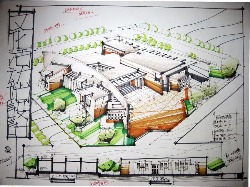 建筑设计表现图 建筑方案设计的表现 景观园林快题设计 小广场快题