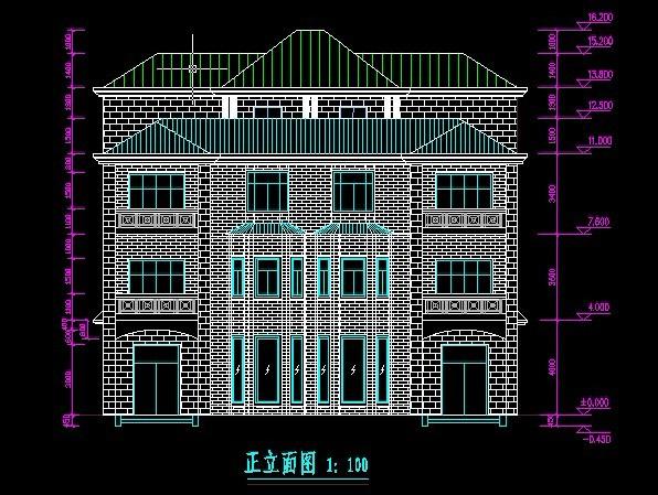 办公楼) 某地单栋4层框架别墅建筑及结构施工图纸 某三层联排别墅给排