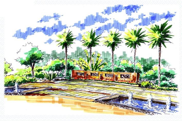 图纸 园林设计图 园林景观效果图 园林景观手绘图 广场节点手绘效果图