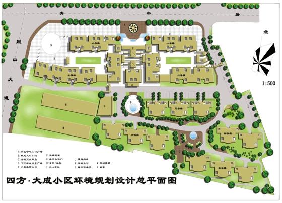 园林景观平面效果图 大成小区环境规划设计图