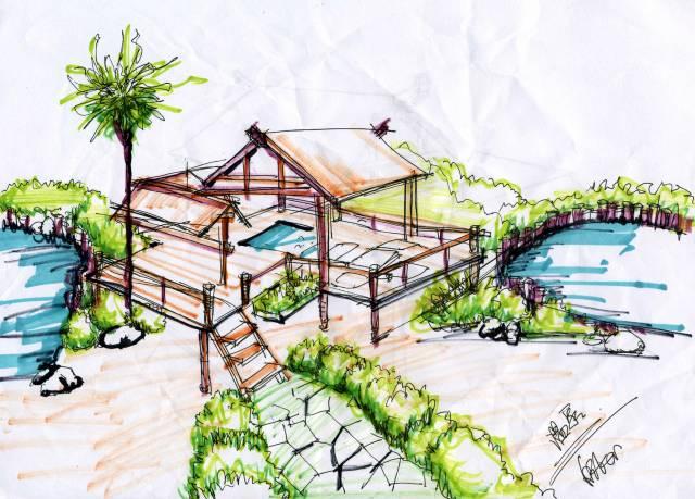 图纸 建筑图纸  景观效果图    景观手绘效果图   相关专题:景观效果