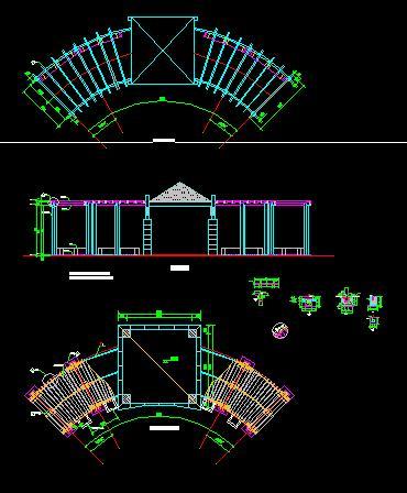 某地大型公园观景区花架部分结构施工图 景亭(小木亭),花架,入口标识