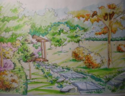 庭园植物造景局部效果图