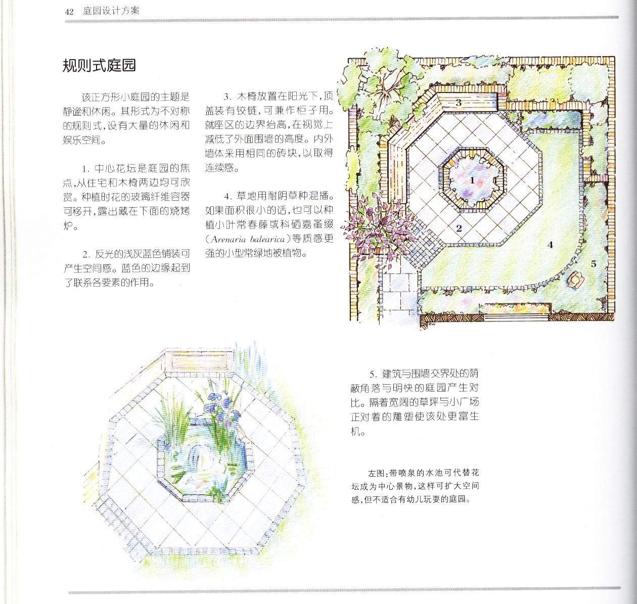 住宅庭院设计方案七,八(三角形,正方形的庭院)图片