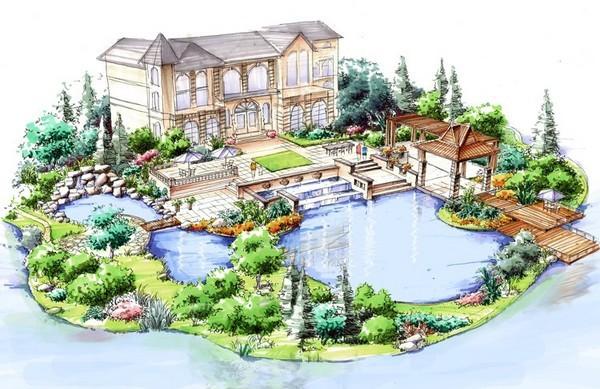 水景设计手绘图 手绘快题设计
