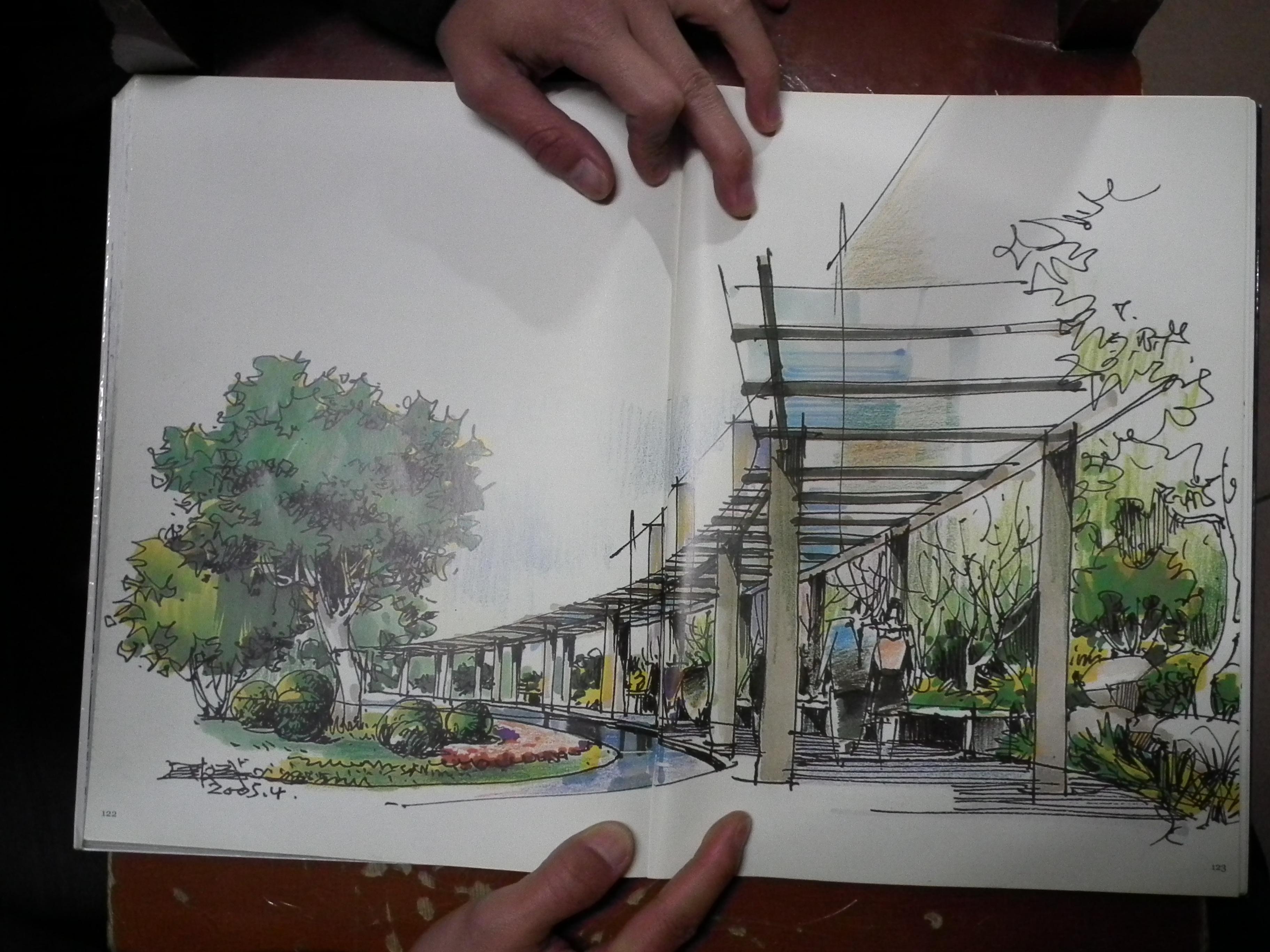 园林设计图  廊架手绘效果图