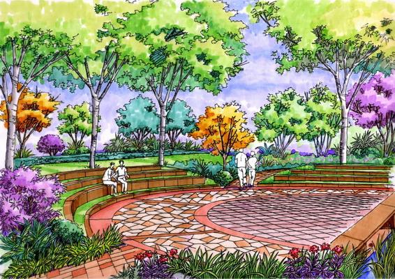 手绘效果图   其中包括市民广场,纪念性广场,生活广场