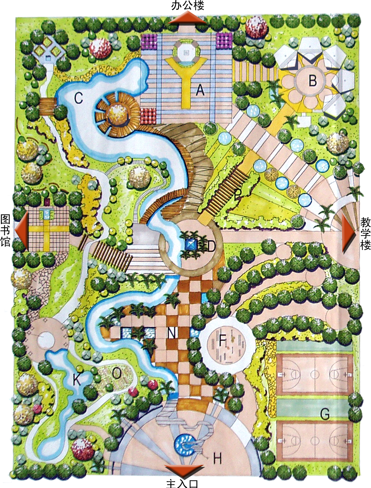 校园景观设计平面图; 一张校园生态广场设计彩平图; 园林图纸