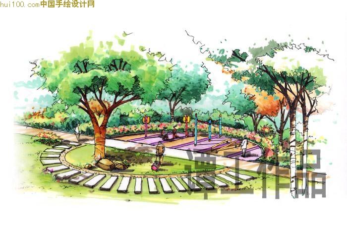 中式园林平面手绘