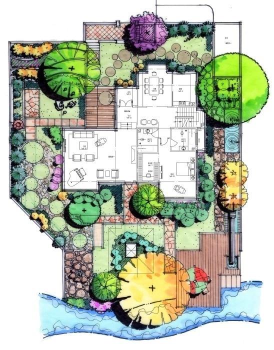 生态型手绘别墅景观效果平面图
