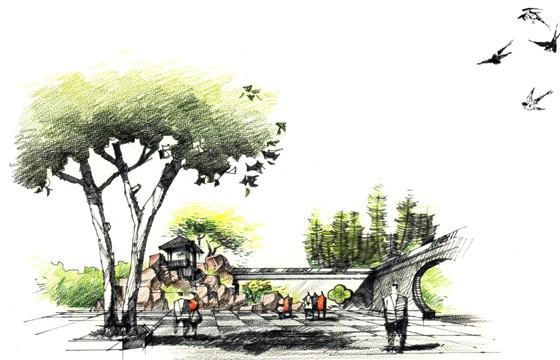 图纸 园林设计图  园林景观效果图  园林景观手绘图(手绘图)  江南