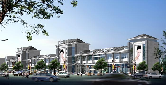 某三层楼沿街效果图   某三层楼沿街效果图   商业街设计高清图片