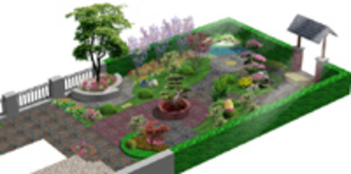 图纸 园林设计图 园林景观效果图 园林景观鸟瞰图 某别墅庭院效果图