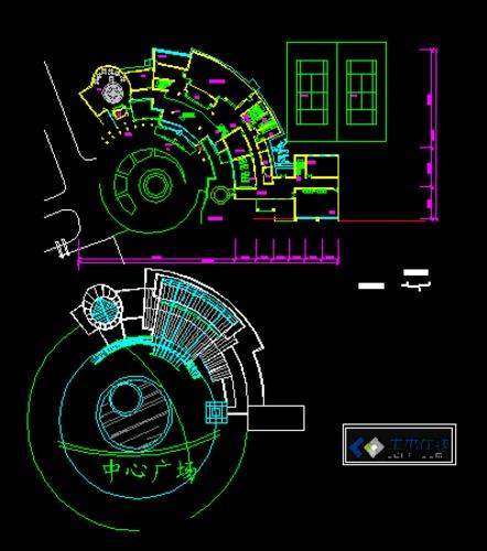 圆形浴缸立面cad_某小区会所平立面CAD_cad图纸下载-土木在线