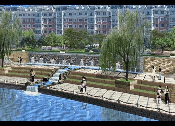 图纸 园林设计图 园林景观效果图 园林景观立面效果图 内河景墙设计
