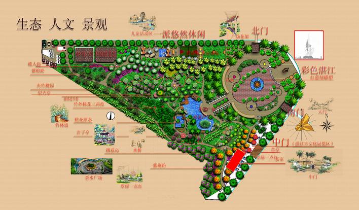 图纸 园林设计图  湛江某公园的初步设计    ps cad 景观小品分析图片
