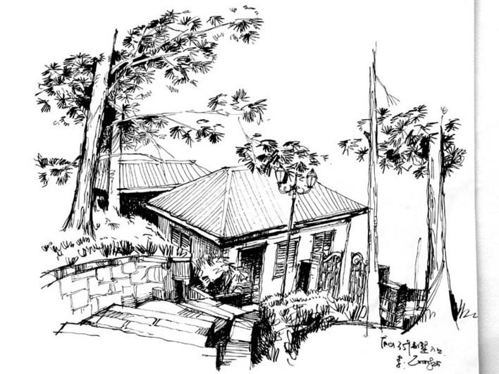 庐山手绘景观线稿平面