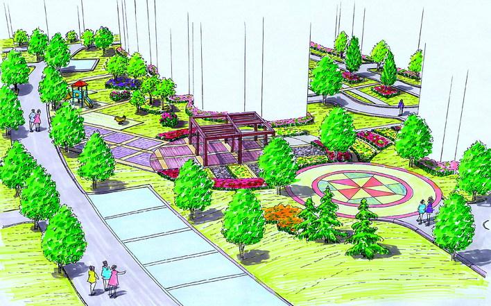 图纸 园林设计图 园林绿化及施工 广场游园绿化设计图 小广场手绘图