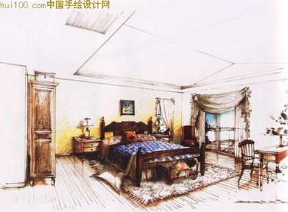 筑室内手绘立面图