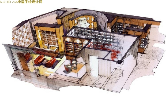 网易建筑室内手绘立面图 室内手绘效果图 室内设计手绘效果图 咖啡厅