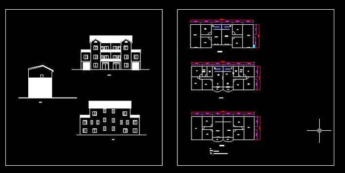 一梯两户房屋设计图 农村实用住宅设计图  所属分类:建筑图纸