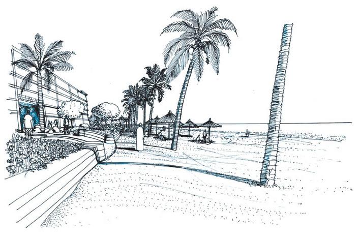 沙滩景观手绘