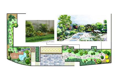 庭院设计手绘图 最近设计亩庭院的影壁效果 邮政局庭院绿化设计平面图