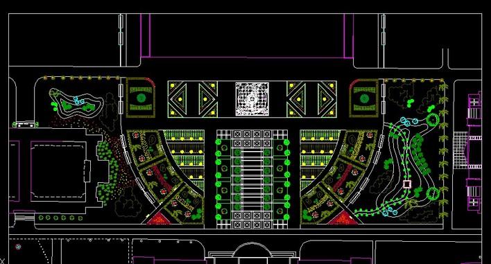 文化广场设计平面图  所属分类:广场绿化设计 绿化cad图纸 园林设计图