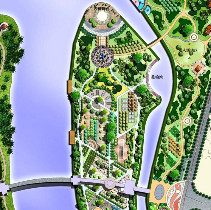 公园规划设计总平面图免费下载 园林景观效果图