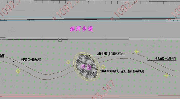 图纸 园林设计图 园林绿化及施工 滨河带绿化设计图 某滨河路景观工程