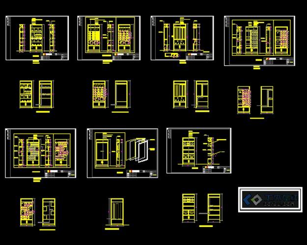 建筑面积:23x12,内有平面布置图,顶面图,柜子尺寸剖面图等等