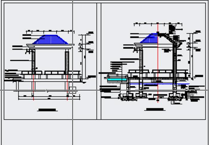 现代式弧线型观演木长廊景观亭施工图 现代特色景观亭结构施工详图(含
