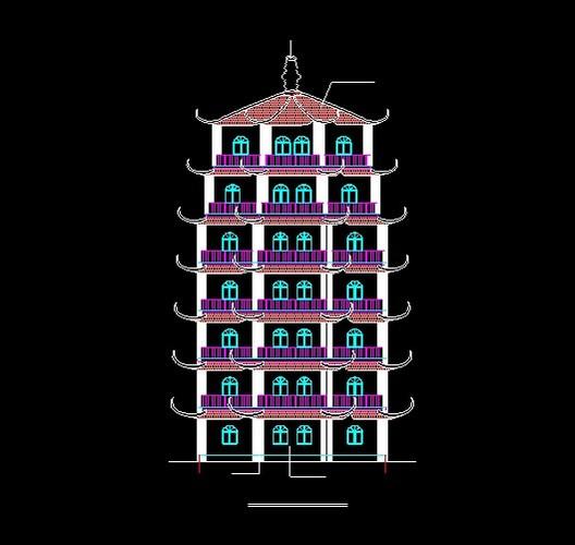 中式仿古塔式建筑方案图片