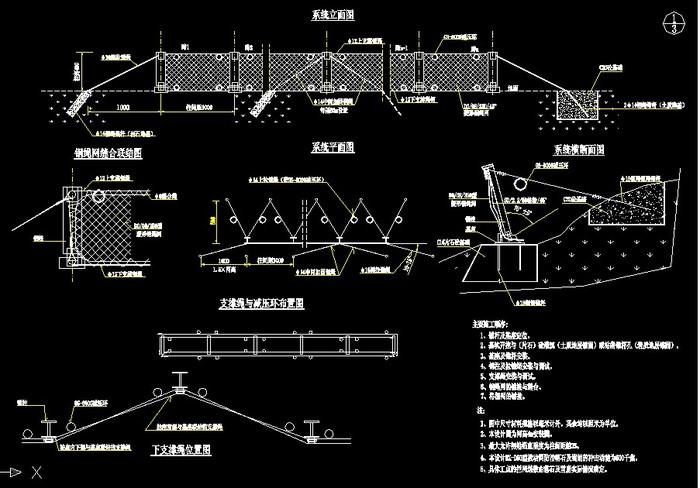 某公路工程被动防护网结构图