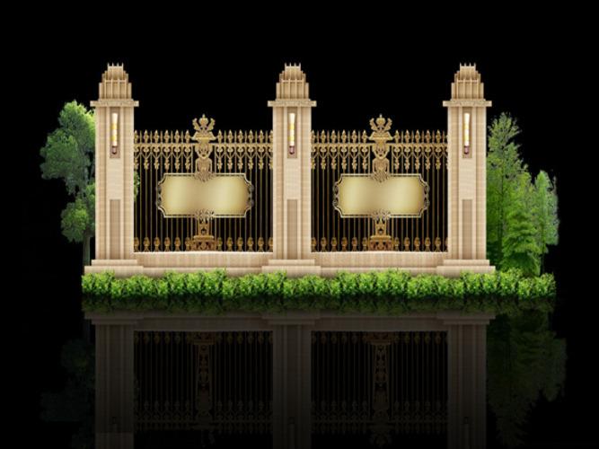 小区及别墅围墙栏杆施工图(带效果图)图片