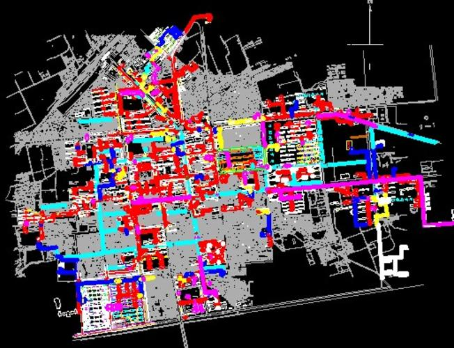 采暖热力入��f_住宅小区采暖施工图(小区采暖施工图)  某城市热力外网图