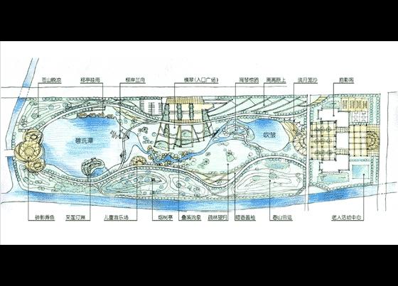 公园平面图手绘手绘公园鸟瞰图公园大门手绘效果图