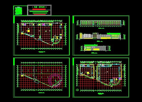 某商城1栋建筑施工图,有底层 二三层 屋面平面图 立剖面图