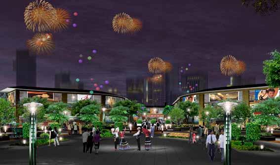图纸 园林设计图 园林绿化及施工 广场游园绿化设计图 入口广场夜景