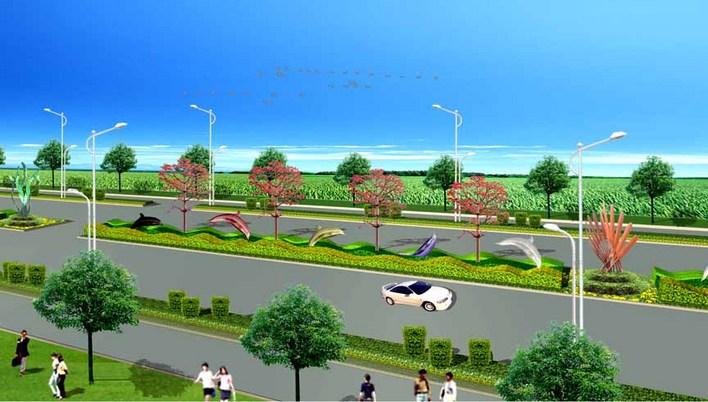 滨海大道道路景观绿化设计图片