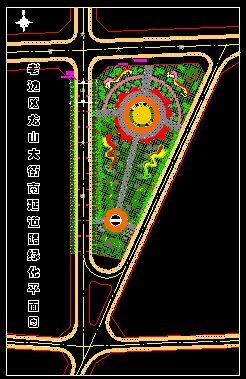 城市道口广场绿地绿化设计图(cad图纸下载)