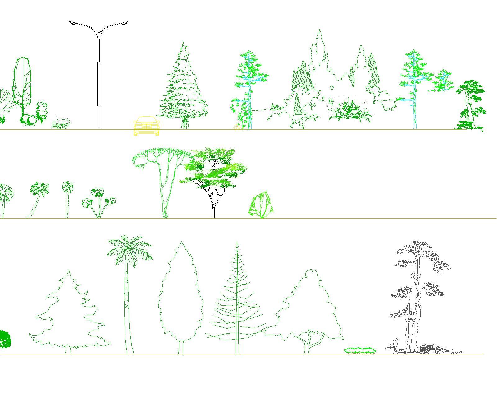 ps手绘立面树素材; 立面树 _co土木在线(原网易土木在线); 立面树图库