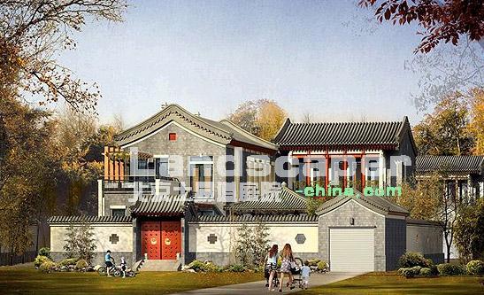 北方别墅庭院的设计图纸和意向图片