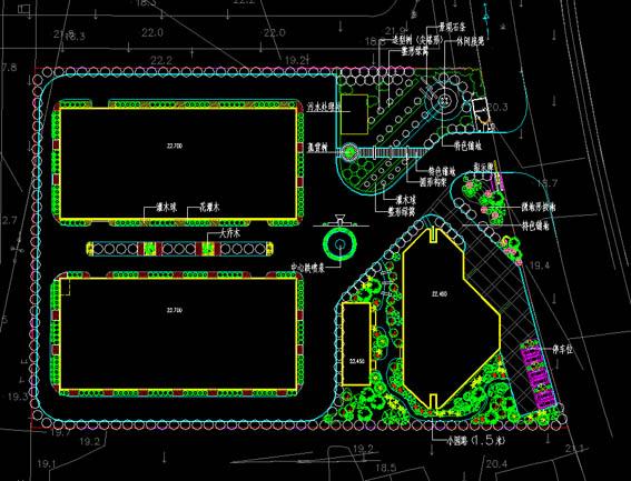 单位学校景观设计图 风电厂厂区绿化景观设计规划平面图方案 某工厂区