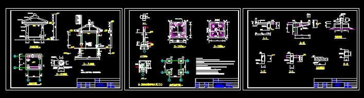 某项目四方亭子的平面,立面及剖面设计图 园林中四方亭亭子施工图(含