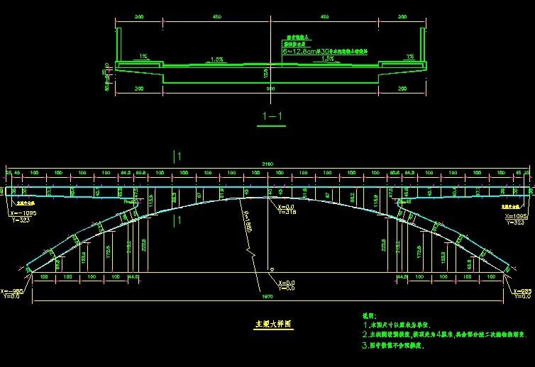 架拱桥设计图,其中含拱结构的设计图,桥面结构的设计,桥台设计等内容.