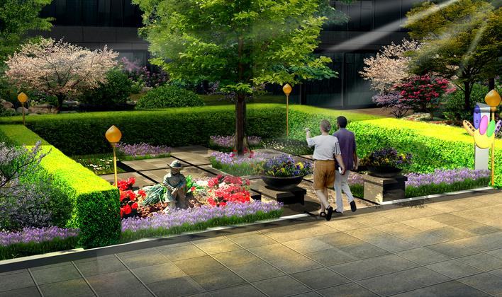 景观大门手绘花
